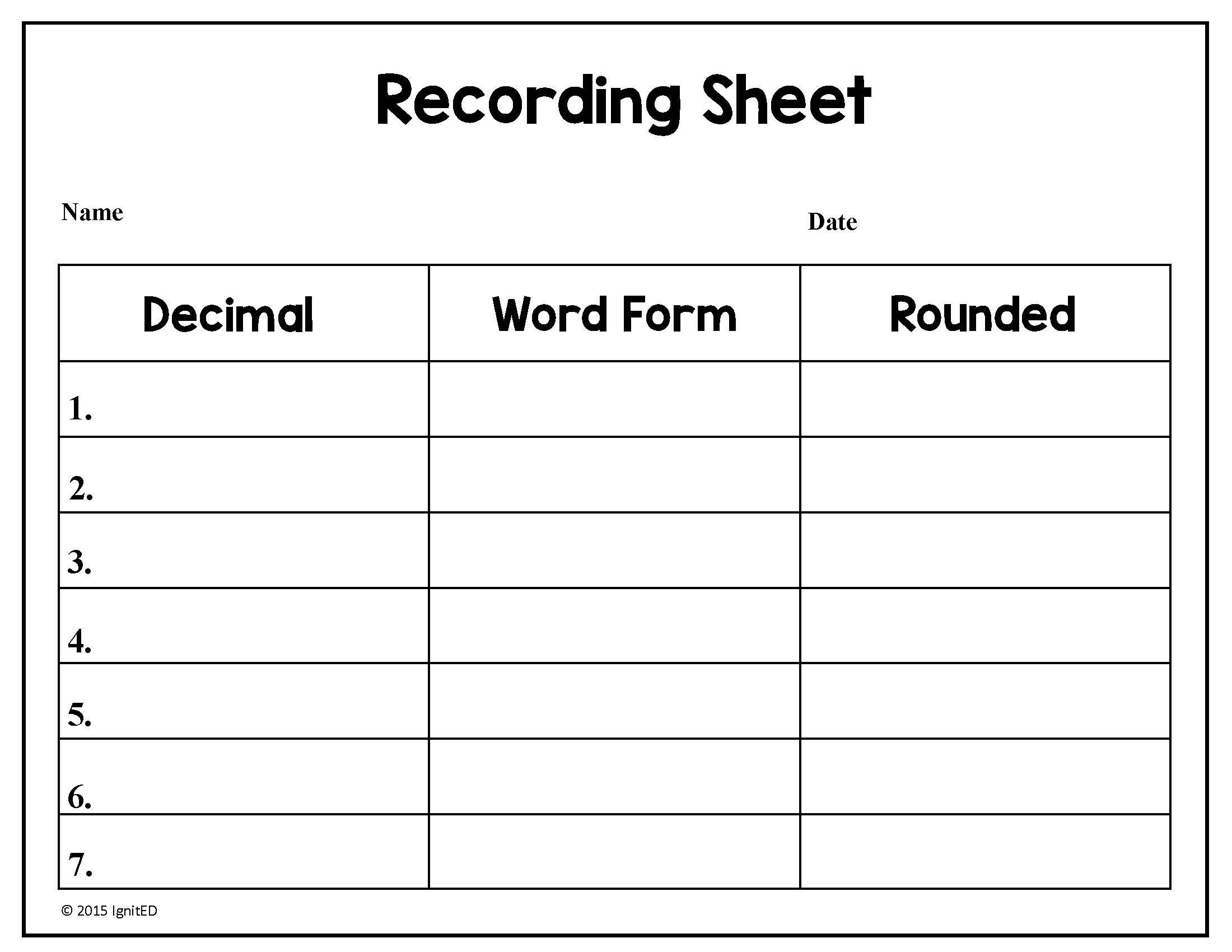 Free Math Worksheets Rounding Decimals