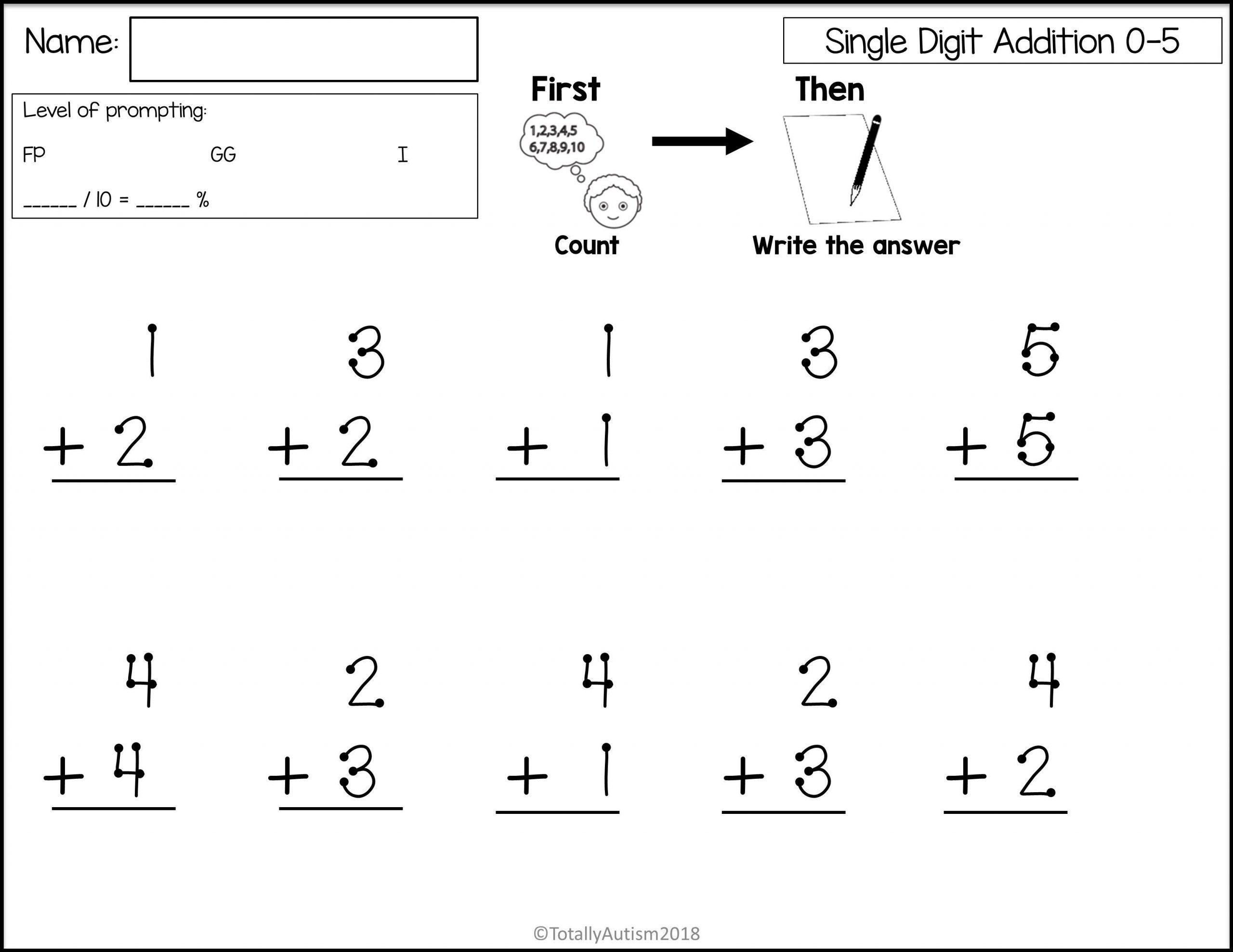 Free Printable Math Worksheets Single Digit Addition