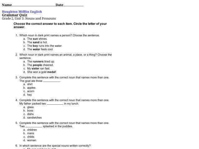 Math Quiz Worksheet For Grade 2 1