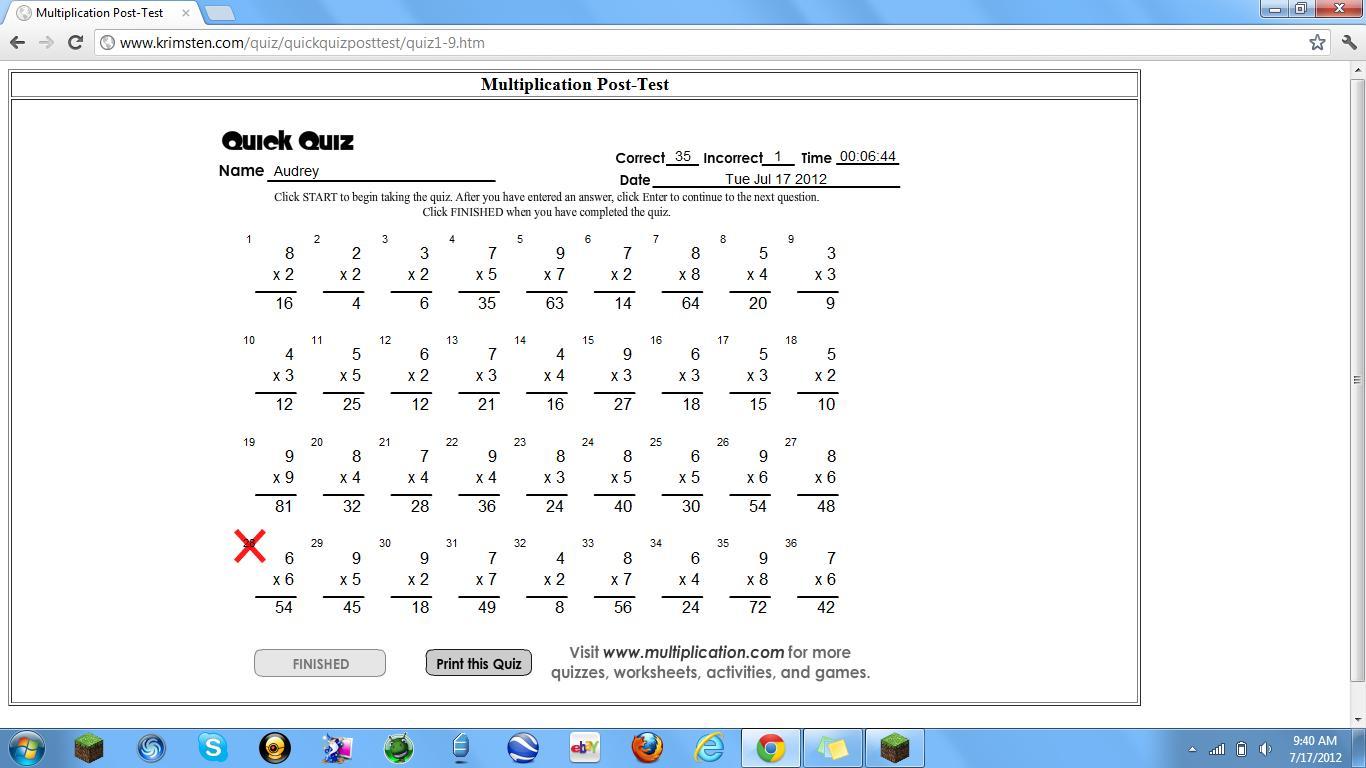 Math Test Analysis Worksheet