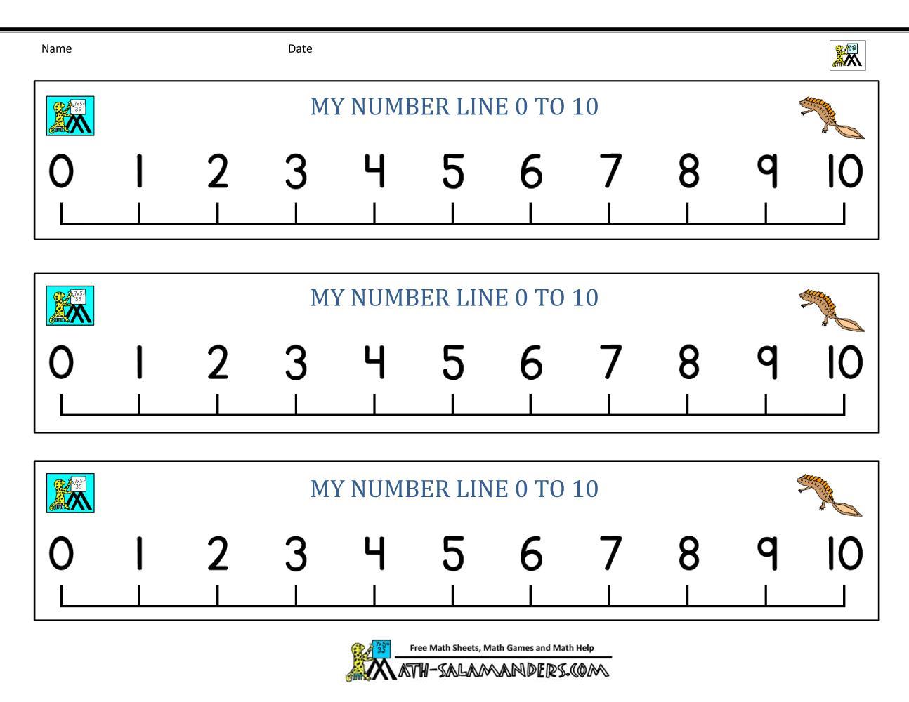 Math Worksheets Number Line 1