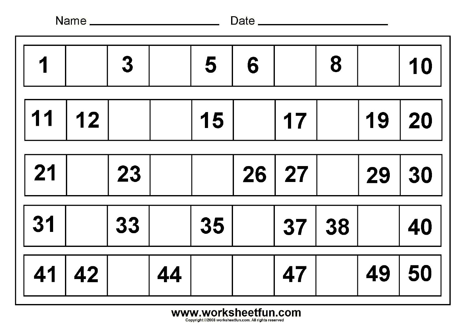 Math Worksheets Numbers 1-100 4