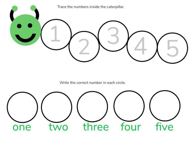 Math Worksheets Numbers 1-5