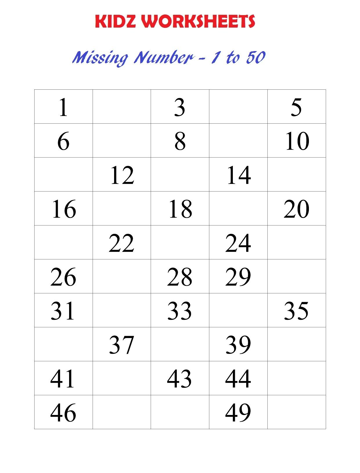 Math Worksheets Numbers 1-50 5