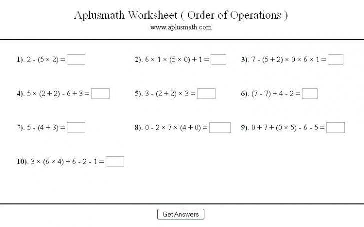 Math Worksheets Order Of Operations With Fractions