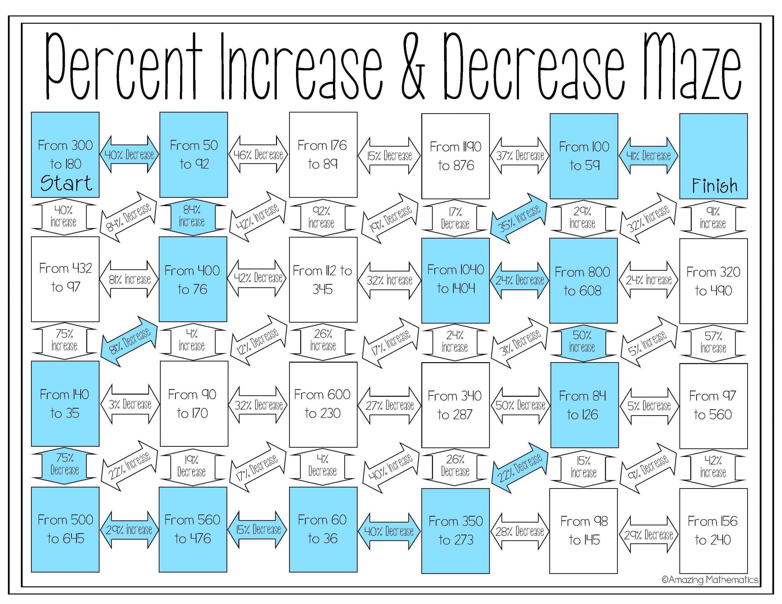 Math Worksheets Percentages 1