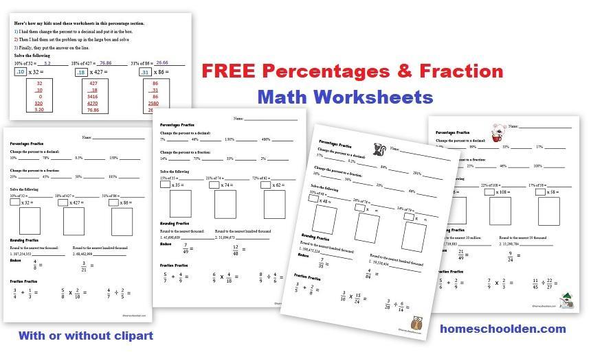 Math Worksheets Percents Decimals Fractions