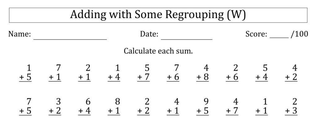 Math Worksheets Single Digit Addition 2