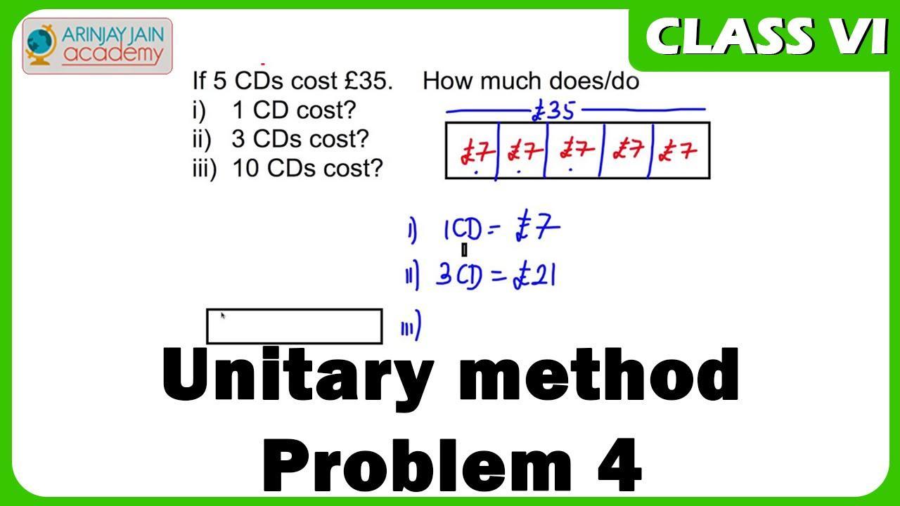 Math Worksheets Unitary Method 2