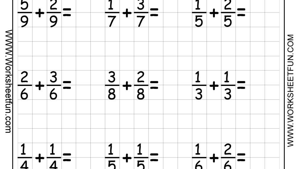 Maths Worksheets On Fractions For Grade 3