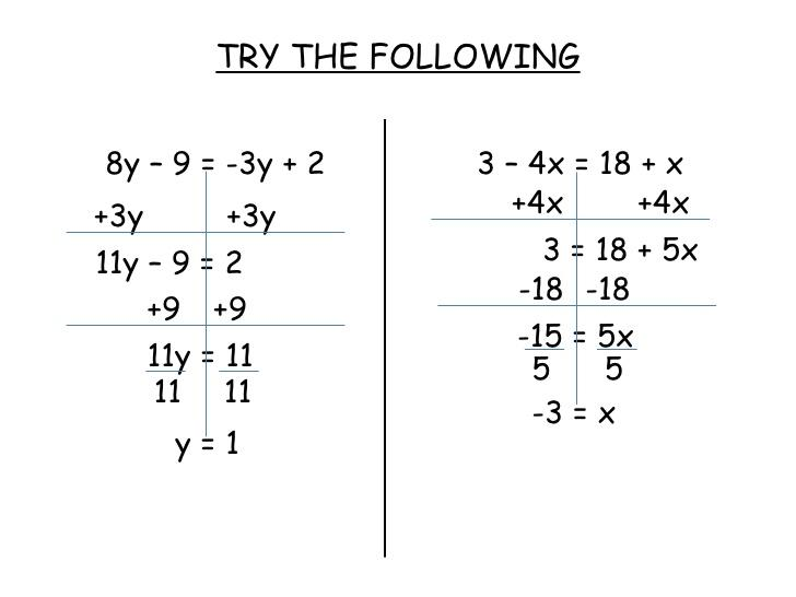 Math Worksheets Variables On Both Sides 4