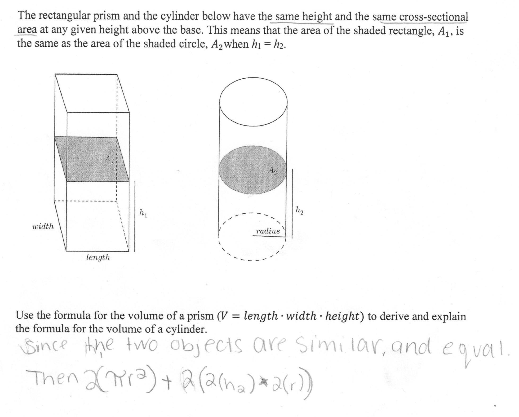 Math Worksheets Volume Of A Cylinder 1