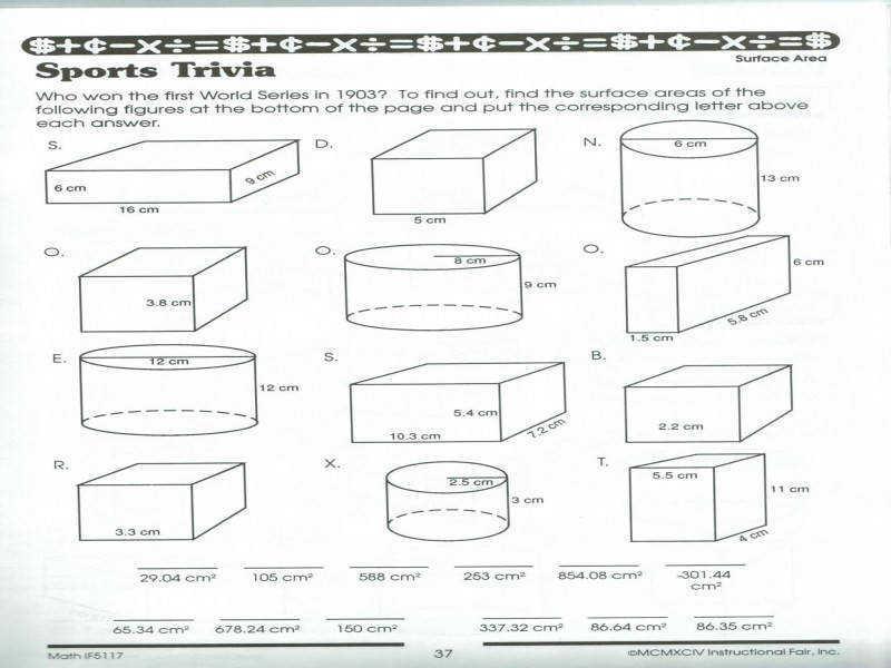 Math Worksheets Volume Of A Cylinder 3