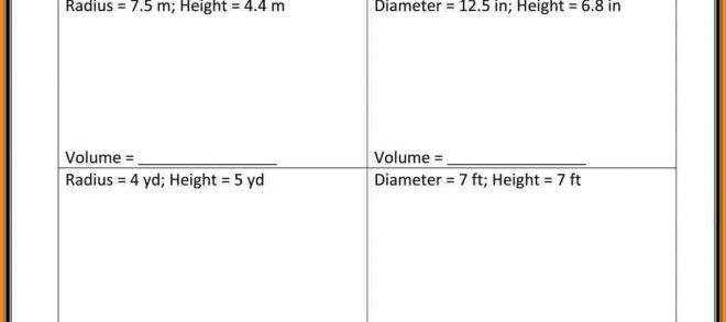 Math Worksheets Volume Of A Cylinder 8