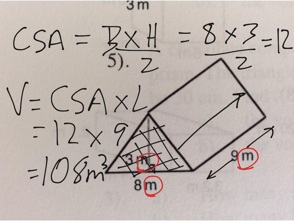 Math Worksheets Volume Of Triangular Prism 9