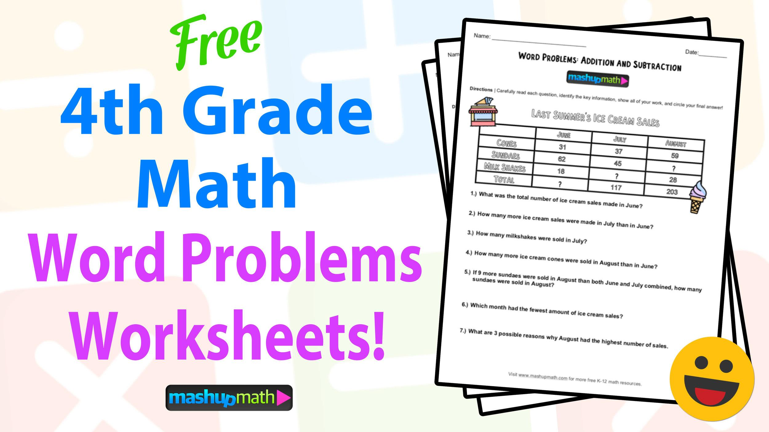Math Worksheets Word Problems 4th Grade 1