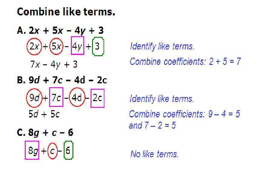 Algebra 1 Combining Like Terms Worksheet