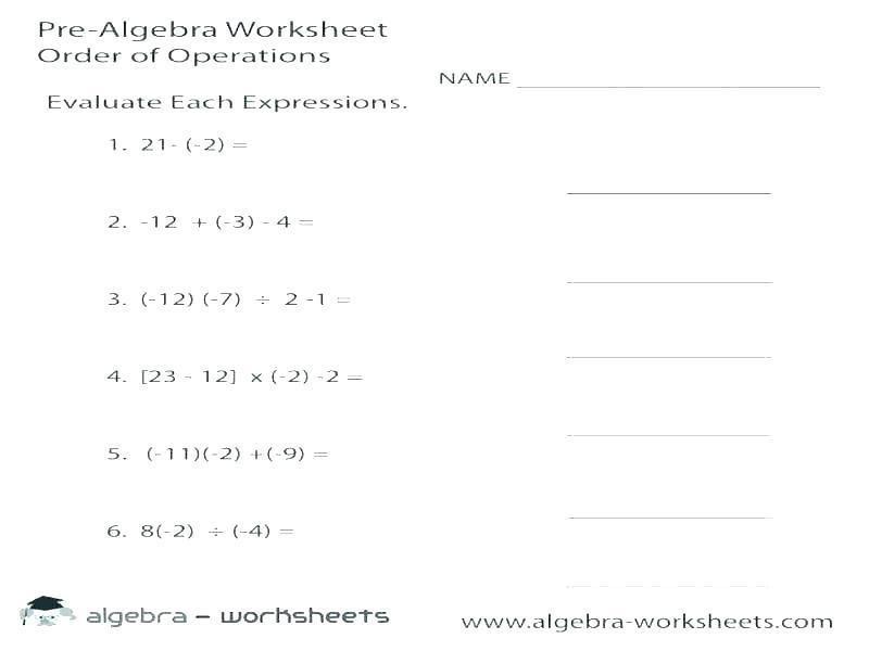 Algebra Integers Worksheet