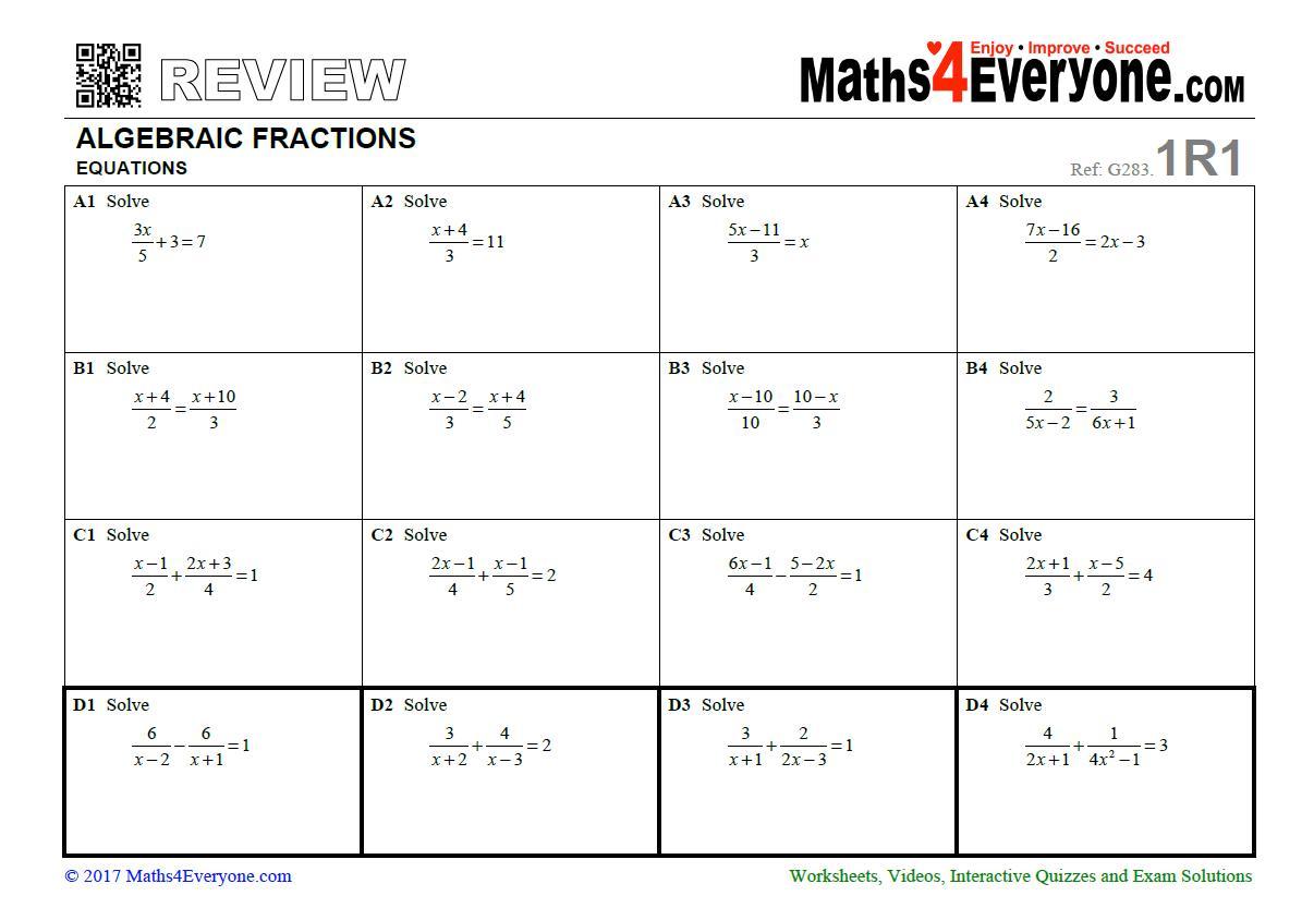 Algebra Revision Worksheet Ks4