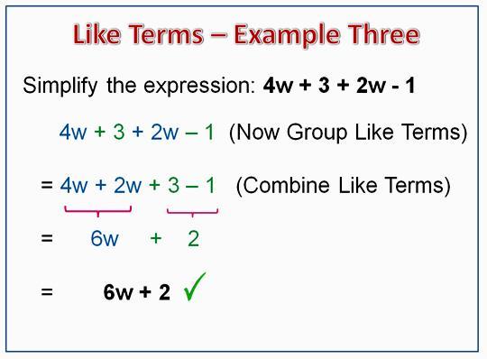Algebra Tiles Combining Like Terms Worksheet