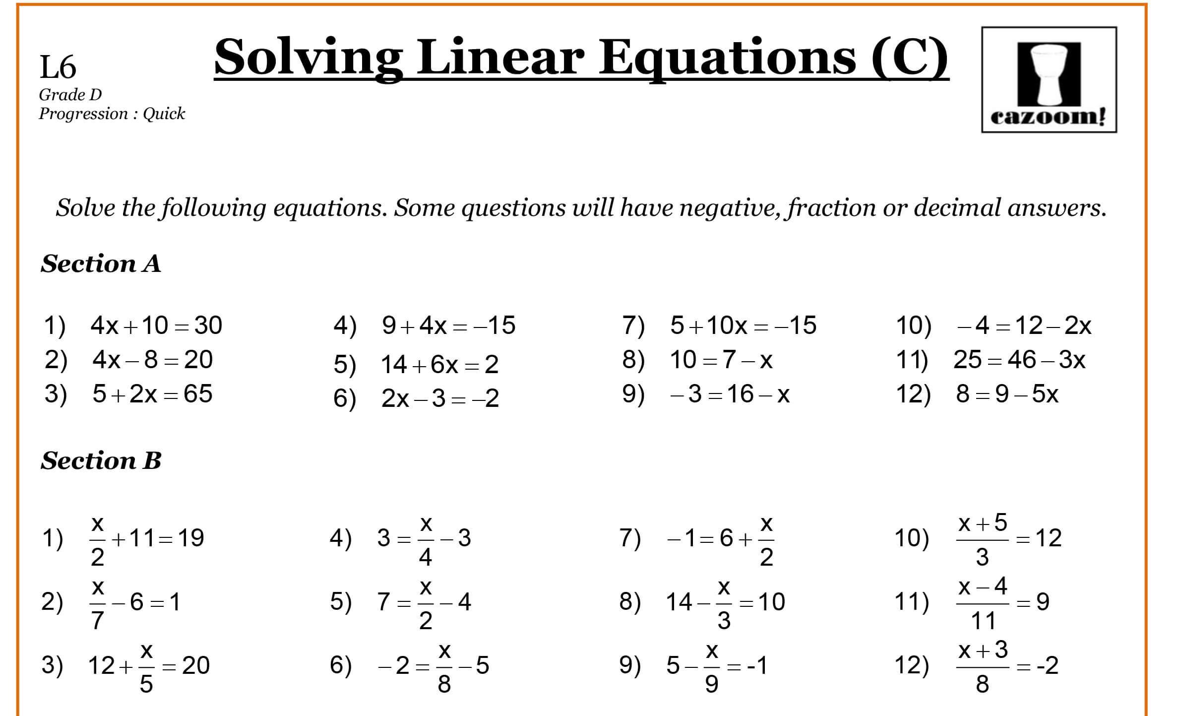 Algebra Worksheet Class 8