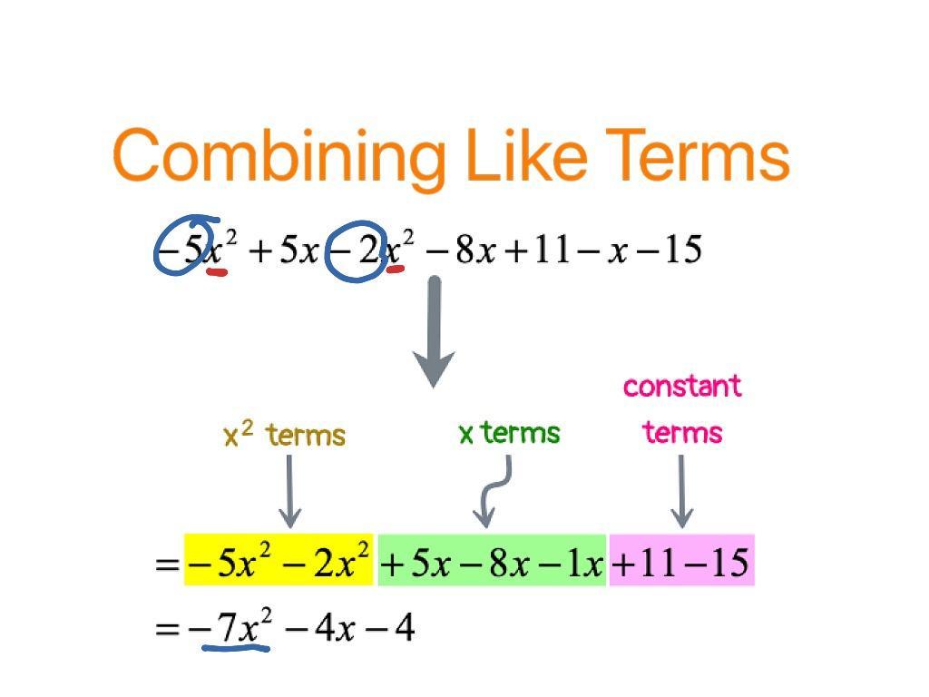 Algebra Worksheets Combining Like Terms