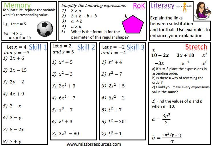 Algebra Worksheets Differentiated 5