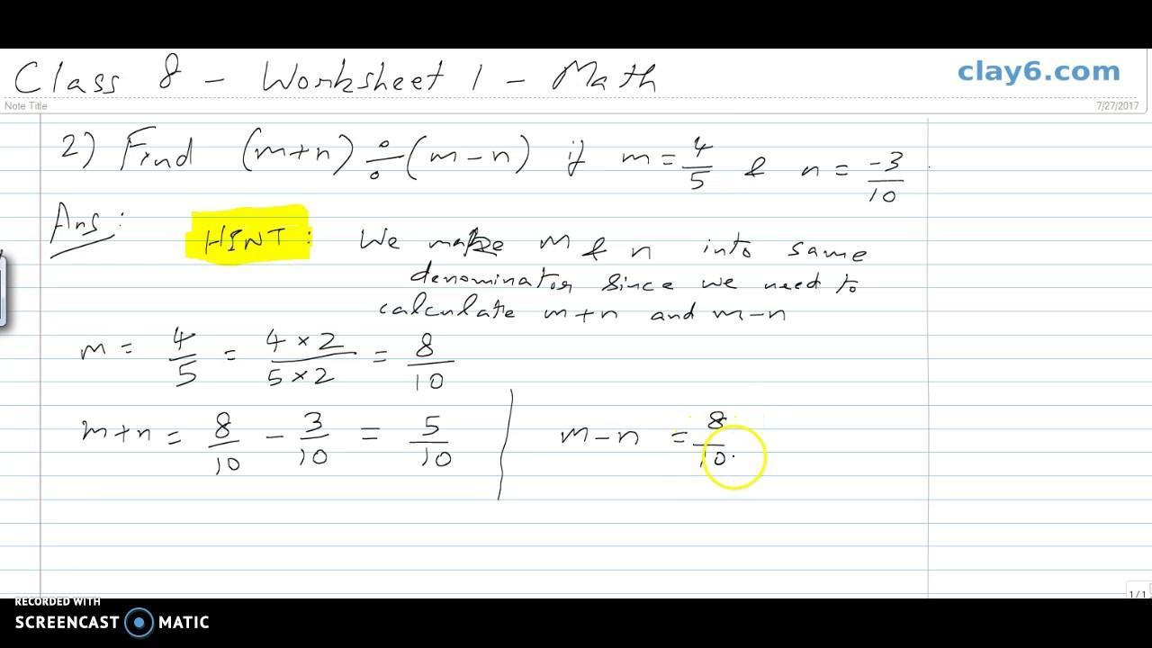 Algebra Worksheets Grade 8 Pdf