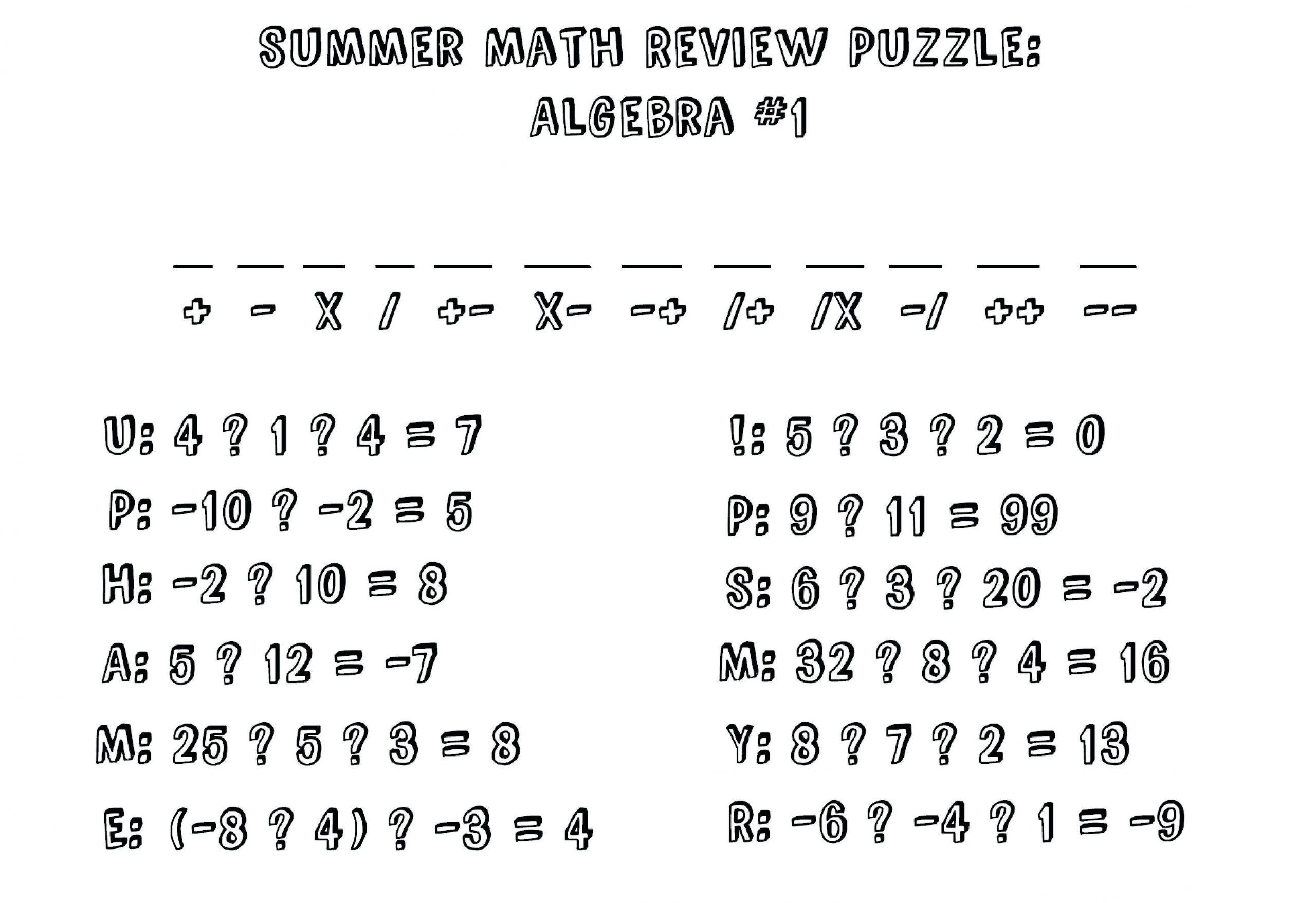 Algebra Worksheets Ks2 With Answers 4