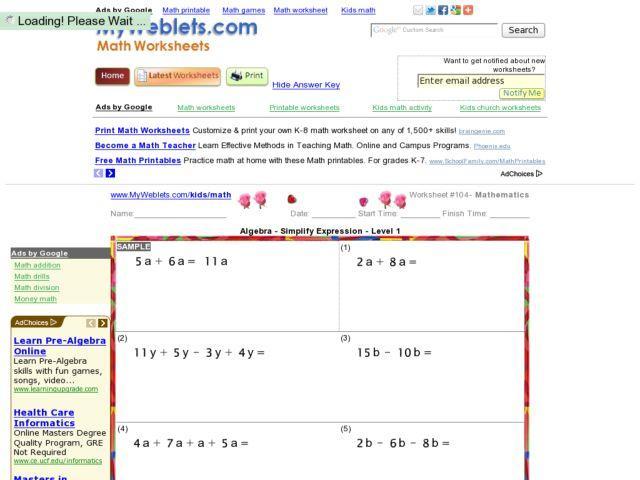 Algebra Worksheets Level 1 1