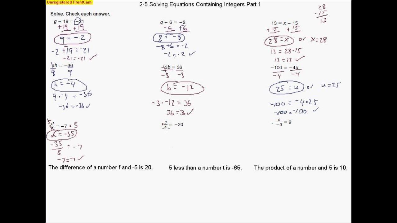 Integers Worksheet Algebra Solve Each Problem Using Vesa