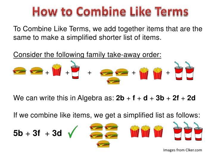 Simplifying And Combining Like Terms Algebra 1 Worksheet