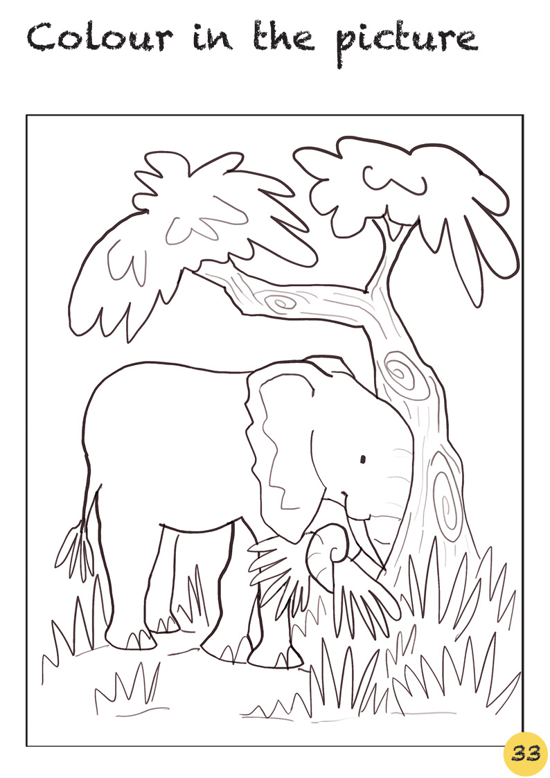 Elephant coloring and drawing