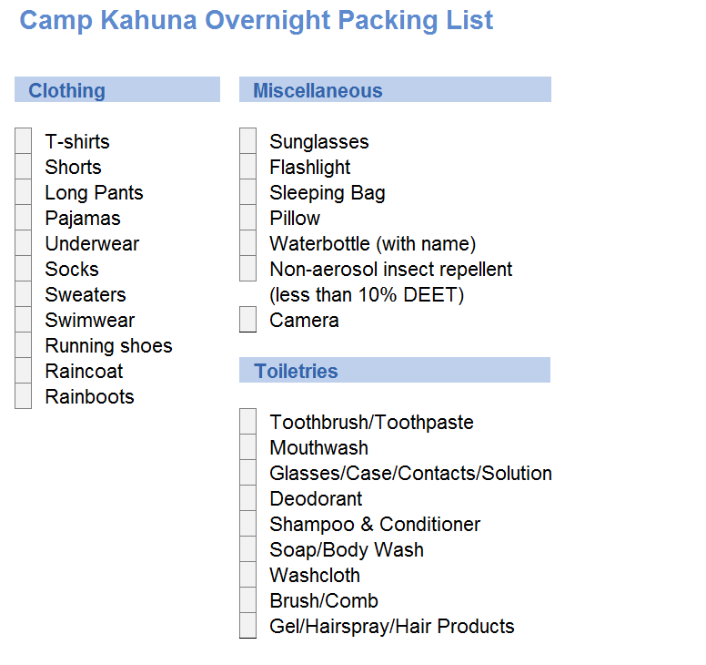 summer camp packing list pdf