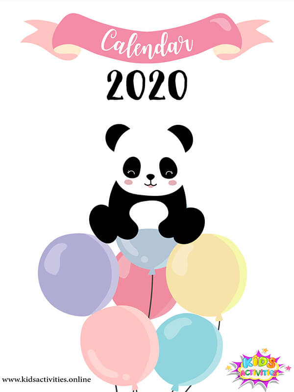 Cute Doodle New Year 2020 Calendar Template - free download
