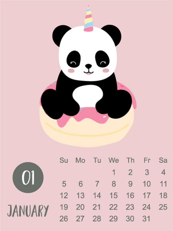 Animal calendar 2020 with panda, bear, rainbow for children