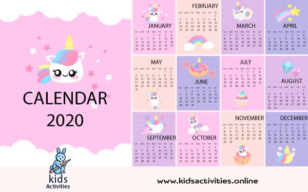 free cute printable calendar 2020