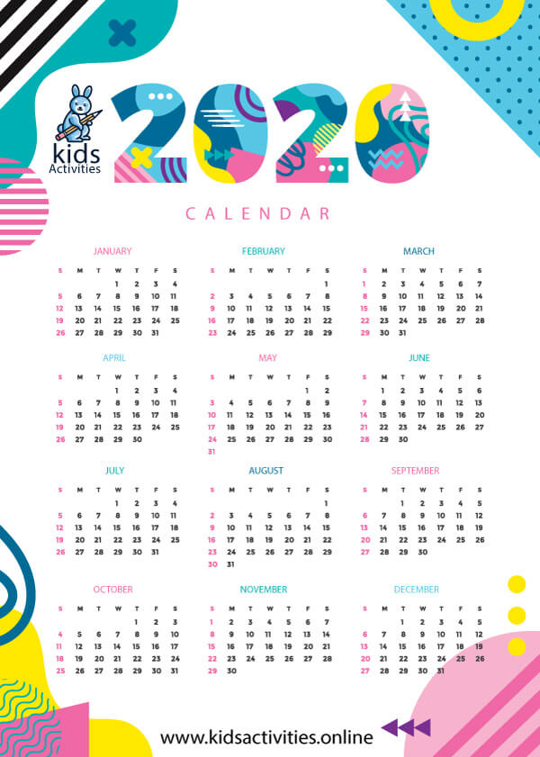 Free cute printable 2020 monthly calendar