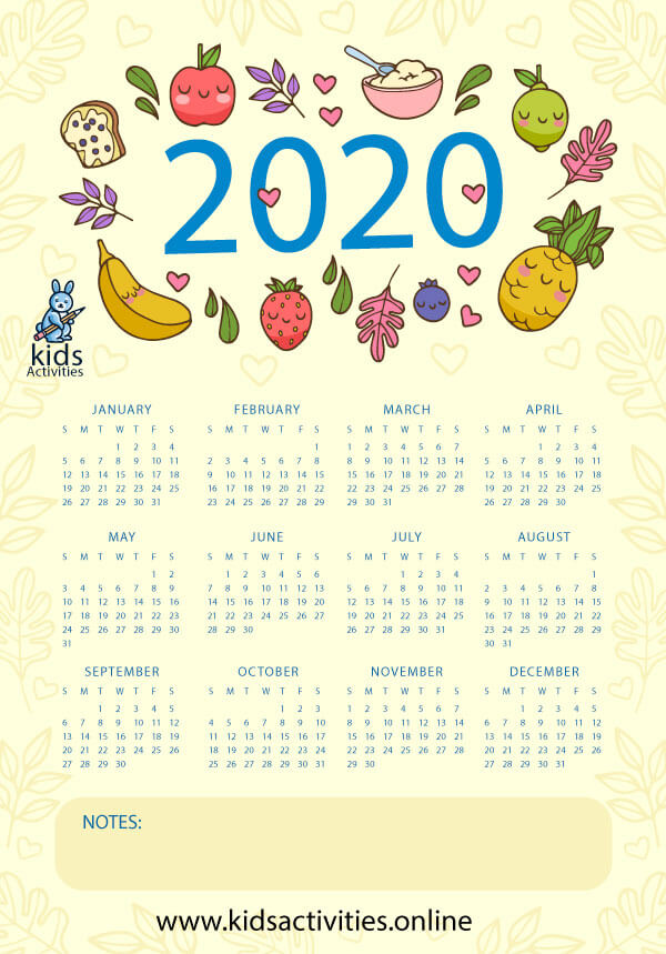 Colorful blank calendar - cute colorful calendar 2020 printable