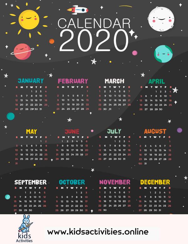 Free Cute Colorful Calendar 2020 Printable