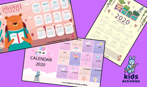 Free Cute 2020 Calendar Printable pdf