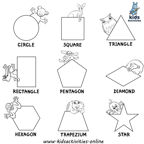 Worksheets on shapes coloring book