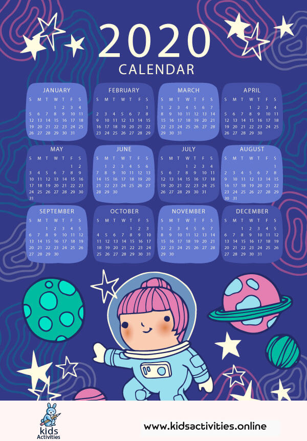 Colorful monthly calendar 2020 - cute colorful calendar 2020 printable