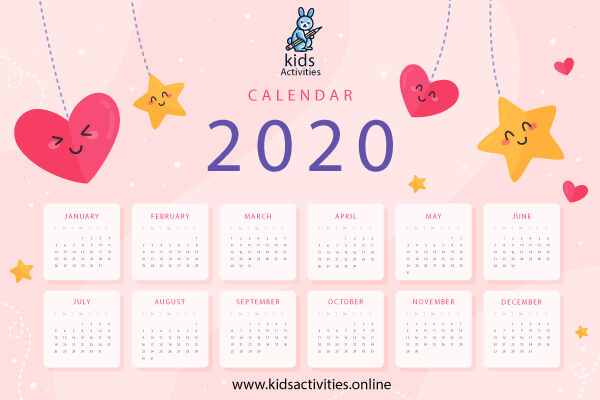 cute colorful calendar 2020 printable
