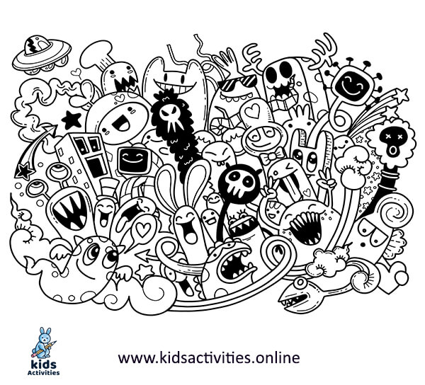 Doodle art design - cute monster