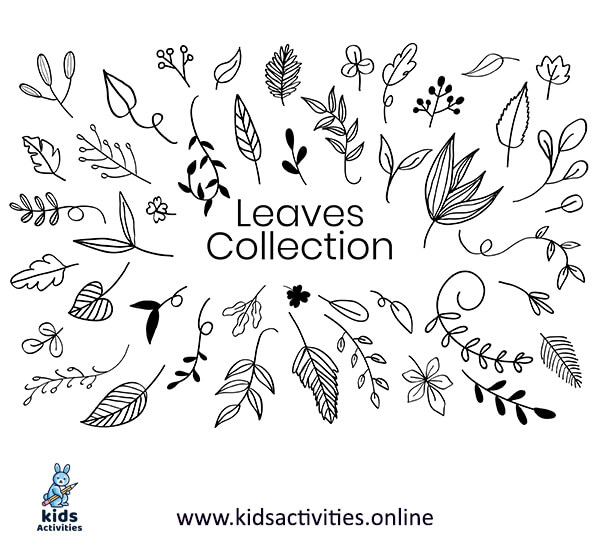 Doodle art patterns - simple leaves drawings