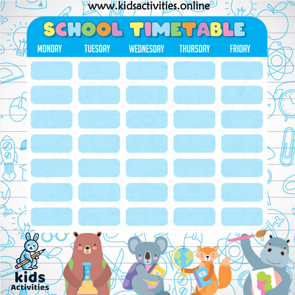 UK school Weekly Subject Timetable Template