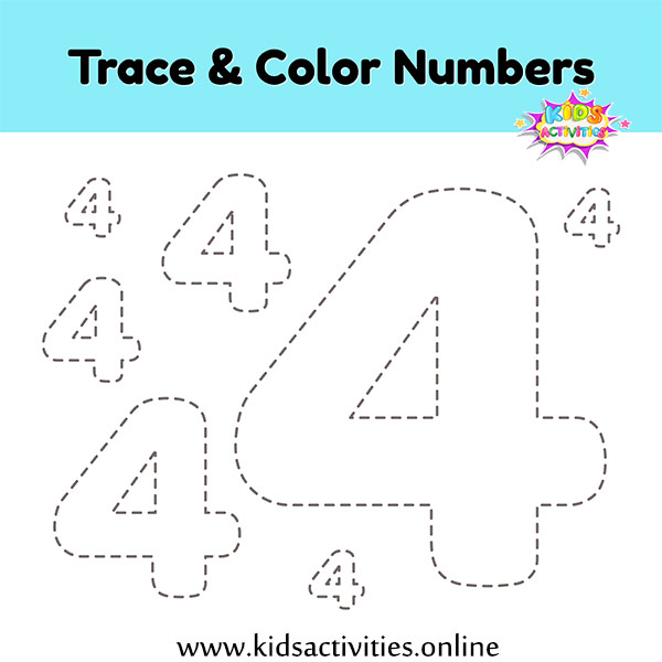 Number tracing worksheets 4