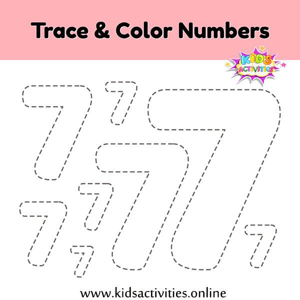 Tracing number seven worksheet kindergarten