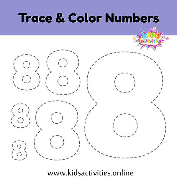 Worksheet Tracing number 8 kindergarten
